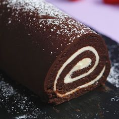Easy Roll Cake Hack Easy Roll Cake Hack Happy accidents are even better when they involve cake.I think my teeth ached watching this but could be a good cake hack stillEasy chocolate cake roll with dark chocolate coatingRoll Cake out of Failed CakeWel Easy Desserts, Delicious Desserts, Yummy Food, Summer Dessert Recipes, Delicious Chocolate, Baking Recipes, Cake Recipes, Cake Hacks, Easy Rolls