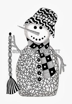 Zentangle Christmas Cards 5 x 7 inch glossy cards by TangleMania snowman Christmas Tree Zentangle, Christmas Doodles, Christmas Drawing, Christmas Art, Xmas, Tangle Doodle, Tangle Art, Zen Doodle, Doodle Art