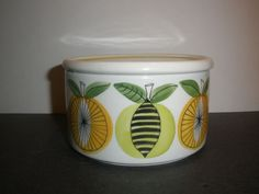 Mid Century Arabia Finland Jam Pot with Lid Orange & Lemon 1967 Scandinavian Style, Finland, Preserve, Simple Designs, Crates, Pots, Lemon, Honey, Mid Century