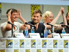 SDCC 2014 - Pedro Pascal, Nikolaj Coster-Waldau, and Gwendoline Christie - Game of Thrones Game Of Thrones Cast, Nikolaj Coster Waldau, Pedro Pascal, Comic Con Cosplay, Hbo Series, New Star, San Diego Comic Con, Orphan Black, Book Of Life