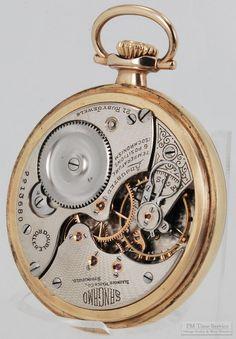 "Illinois ""Sangamo"" vintage pocket watch, 16 Size, 21 Jewels, smooth polish yellow gold filled screw back & bezel case (movement view).  $425, on Etsy. Vintage Pocket Watch, Illinois, Pocket Watches, Wrist Watches, Smooth, Polish, Jewels, Yellow, Unique Jewelry"