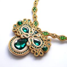 Bollywood Necklace Soutache Necklace Emerald by AvennaJewelry