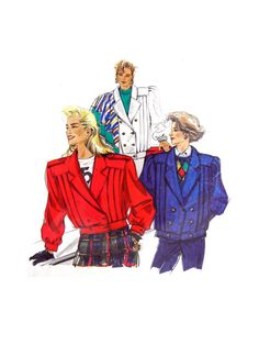 Neue Mode 20935 Double Breasted, Tucked Box Jacket with Length & Cuff Variations, Uncut, Factory Folded Sewing Pattern Multi Size Vogue Sewing Patterns, Vintage Sewing Patterns, Spanish Pattern, Double Breasted, 1980s, Retro Vintage, Jacket, Box, Handmade