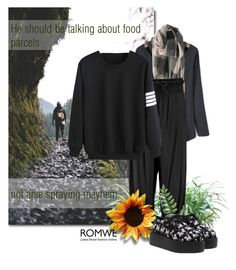 """Black Romwe Outfit"" by annette-heathen ❤ liked on Polyvore featuring Boohoo, women's clothing, women, female, woman, misses, juniors, romwe, quote and Hiking"
