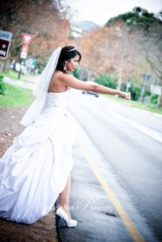 Hitch hiking Bride   Weddings - Chantelle Visser Photography Wedding Bride, Wedding Dresses, Walking Down The Aisle, Looking For Love, My Favorite Image, Father Of The Bride, One Shoulder Wedding Dress, That Look, Groom