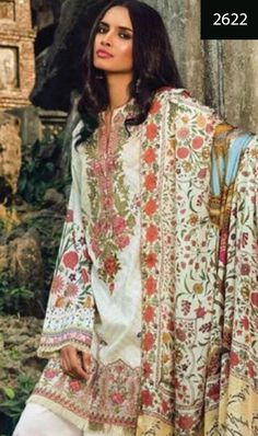 WYSS-2622 - NECK EMBROIDERED Designer 3PC Lawn Suit With CHIFFON Dupatta - SUMMER COLLECTION 2017 / 2018
