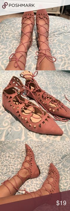 FLASH SALE Mauve Suede Lace Up Flats Absolutely gorgeous, feminine and flirty flats by Liliana - perfect mauve-y pink color for spring and summer. These flats feature laser cut out details and string lace up ties. Only worn twice to events Shoes
