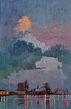 """""""Harbor At Dusk,"""" by René Wiley by Rene' Wiley Gallery Oil ~ 30 x 20"""