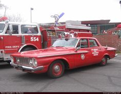 1962 Plymouth Command Car with the Los Angeles Fire Department Emergency Apparatus Fire Truck.
