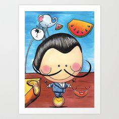 Salvador Dali, Children Illustration, Art for kids, colorful art prints by LesliePinto Spanish Art, Spanish Class, Kandinsky Art, Salvador Dali Art, Art Studies, Illustration Art, Illustrations, Art Education, Art For Kids