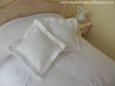 Two Classic Italian Embroidered Linen Cushions, Dollhouse Miniature,1:12 Scale Dolls House. €45.00, via Etsy.