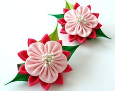 Kanzashi hair clip. Set of 2 hair clips. Pink Kanzashi by JuLVa