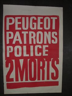 Affiche mai 68 - Peugeot patrons police 2 morts
