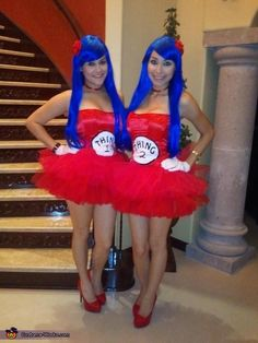 THING 1 & THING 2 - Homemade costumes for women have to remember for next halloween Group Costumes Ideas, Creative Costumes, Cute Costumes, Costumes For Women, Costume Ideas, Homemade Halloween Costumes, Halloween Costume Contest, Halloween Kostüm, Literary Costumes