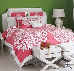 Pink Lilly Bedding. Pink and green and preppy as can be! :)