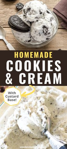 Make this delicious and easy homemade cookies and cream ice cream with or without an ice cream machine. Either way, this delicious vanilla custard base with chocolate cookies is perfect for any occasion! Custard Ice Cream Recipe, Custard Recipes, Vanilla Custard, Oreo Ice Cream, Ice Cream Cookies, Ice Cream Desserts, Ice Cream Base, Frozen Cookies, Banana Ice Cream