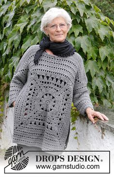 Magic Square - Crochet jumper with crochet square and lace pattern. Sizes S - XXXL. The piece is worked in DROPS Nepal. - Free pattern by DROPS Design Knitting Patterns drops design Free Crochet Sweater Patterns - Free Crochet Patterns Cardigan Au Crochet, Gilet Crochet, Crochet Jacket, Crochet Stitch, Crochet Shawl, Knit Cowl, Crochet Granny, Cowl Scarf, Knitting Patterns Free