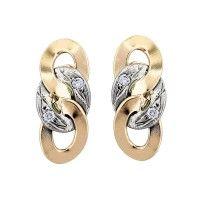 Two Tone Gold Link Diamond Earrings