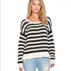 Free People Pullover Striped Sweater NEW WITH TAGS Free People At The Beach Pullover - Women's Sweater : Ivory Black Combo : Striped sweater is fabricated from chunky cotton yarn and flaunts a relaxed cozy fit. Round neckline and long sleeves. Pull-on design. Ribbed trim. Straight hemline. 100% cotton. Hand wash cold, dry flat. Medium Free People Sweaters Crew & Scoop Necks