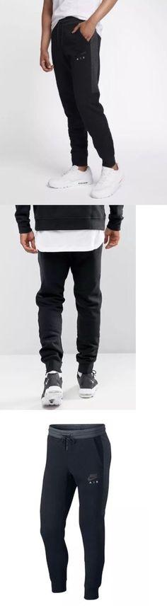 Athletic Apparel 137084: Nike Air Mens Nsw Fleece Jogger Pants Black  Anthracite 861626 010 Sz