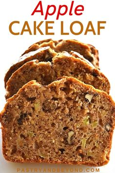 Apple Cake Loaf-You'll love this delicious apple bread that is soft and moist. This easy and yummy apple cake loaf is flavored with warm Fall spices, perfect for breakfast, afternoon tea or anytime you want to eat a delicious treat. No mixer needed! Apple Loaf, Apple Bread, Apple Cake, Quick Bread, How To Make Bread, Loaf Recipes, Easy Recipes, Carrot Cake Loaf, Yummy Treats