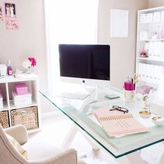 Light and bright home office for her. This seems like the perfect place to be productive!