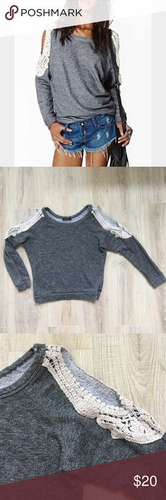 Nasty Gal Lace Cold Shoulder Gray Sweatshirt Nasty Gal gray lace cold shoulder sweatshirt. Only worn a handful of times, still in just purchased condition! No stains or damages at all. This is a cute sweatshirt that looks great with black jeans or leggings and boots or sneakers! Nasty Gal Tops Sweatshirts & Hoodies
