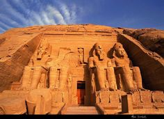 Abu Simbel, Egypt - In 1257 BCE, Pharaoh Ramses II (1279-13 BCE) had two temples carved out of solid rock at a site on the west bank of the Nile south of Aswan in the land of Nubia .