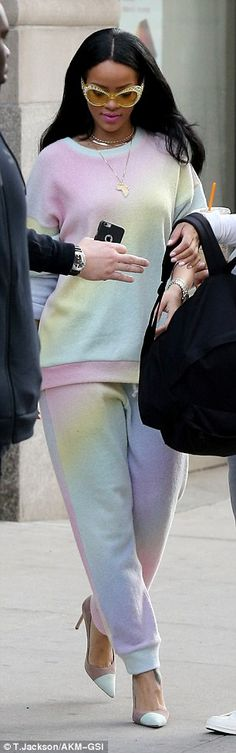 Girlie: The ensemble was rather more feminine than Rihanna's usual tomboy style...
