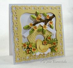 Sweet Lacy Yellow Birdhouse Card...