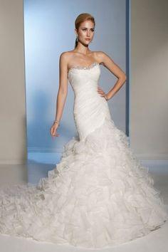 Strapless Sweetheart Ruffle Chapel Train Ivory Organza Mermaid Wedding Dress