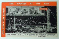 1933 CHICAGO WORLDS FAIR POSTCARD OTIS ELEVATOR SKYRIDE #0043e