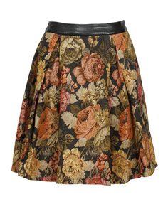 LOVE this !  Parisian Floral Print Pleated Full Midi Skirt in Black