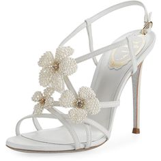 Rene Caovilla Snakeskin Beaded High Sandal (67,685 INR) ❤ liked on Polyvore featuring shoes, sandals, ivory, ivory sandals, snakeskin sandals, ankle wrap sandals, flower sandals and glitter shoes