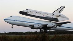 The space shuttle Discovery, attached to a modified NASA 747 aircraft, takes off headed for its final home at The Smithsonian National Air and Space Museum's Steven F. Udvar-Hazy Center in Chantilly, Virginia, from the Kennedy Space Center in Cape Canaveral, Florida April 17.  Joe Skipper / Reuters