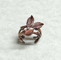 forest leaf ring band