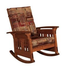 Amish McCoy Mission Upholstered Rocking Chair Be seated in luxury with a custom rocking chair. This fine furniture is made in Amish country using solid wood, fine upholstery and tried and true building techniques. Customize yours today. #rockingchairs #livingroom #rockers Amish Rocking Chairs, Upholstered Rocking Chairs, Rocking Chair Nursery, Rocking Chair Cushions, Chair And Ottoman, Living Room Seating, Living Room Sets, Amish Furniture, Home Furniture