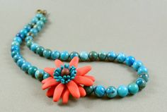 SALE  40 OFF  Coral Daisy Flower And Crazy by MadeWithClayAndLove, $27.00