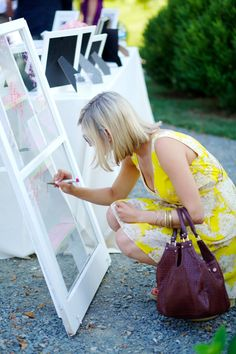 A salvaged window as a guest book: http://www.stylemepretty.com/australia-weddings/new-south-wales-au/sydney/2015/08/27/16-creative-guest-book-alternatives-your-guests-will-want-to-sign/