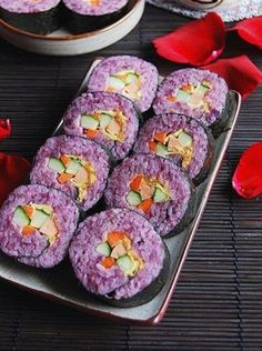 Purple Potato Sushi (So sad there isn't a recipe... But it still looks absolutely yummy!)
