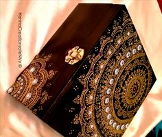 Henna Art wooden Jewelry Box in midnight black and inlaid with turquoise velvet lining.