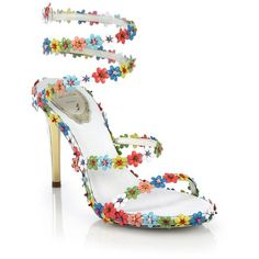 Rene Caovilla Flower-Beaded Leather Sandals l Saks Fifth Ave Pretty Shoes, Beautiful Shoes, Cute Shoes, Me Too Shoes, Stilettos, Heels, Shoe Boots, Heeled Boots, Heeled Sandals