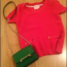 SALE!! Designer top Soft woven material short sleeve top. Gold button on shoulders and as decorative pieces on pockets. Stretchy but falls small. Like xs. Great condition. Feels like new. Smoke free home. Super cute for winter in seasonal red. Trendy London brand. Brand for expo Zara Tops Tees - Short Sleeve