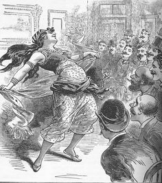 """A drawing of Little Egypt that appeared on the cover of the March 1894 issue of """"The National Police Gazette"""" (one of the first men's magazines) that depicts a dancing girl performing for an all male audience. The caption that accompanied it read, """"Danse Du Vetre In Brooklyn, N.Y."""""""