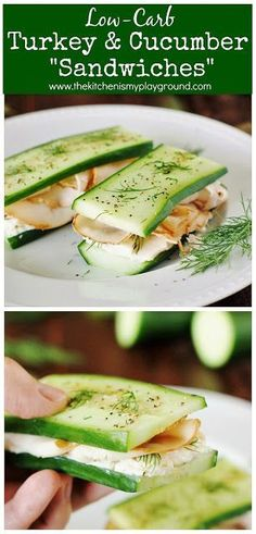 Low-Carb Smoked Turkey Cucumber Sandwiches If you re looking for low-carb lunch ideas these easy no-bread sandwiches have got you covered lowcarb cucumbersandwiches nobread nobreadsandwiches # Keto Lunch Ideas, Lunch Recipes, Low Carb Recipes, Diet Recipes, Healthy Recipes, Sandwich Recipes, Low Fat Lunch Ideas, Easy Healthy Lunch Ideas, Avocado Recipes