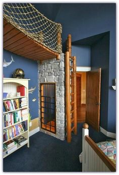 Now, THIS is a kid's bedroom!  Magical, complete with books! Gotta have a pretend dungeon or cell so they can pretend to free each other