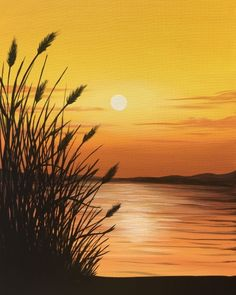 """Paint Nite painting """"Golden Sunset"""" by artist Carmen Maciboric from White City, SK, Canada. Sunset Painting Easy, Watercolor Sunset, Watercolor Paintings, Aesthetic Painting, Easy Paintings, Easy Landscape Paintings, Beautiful Landscapes, Amazing Art, Canvas Art"""