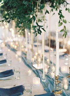 Candle and Silk Runner | Jessica Lorren Photography | Fall Beach Wedding Inspiration
