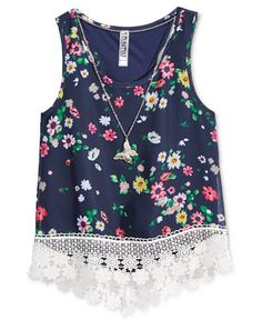 Beautees Girls' Floral-Print High-Low Tank with Necklace