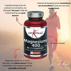 Goed voor soepele spieren, botaanmaak en geestelijke veerkracht. Een goede energie boost bij een vermoeid en lusteloos gevoel. Magnesium 400 voedingssupplement.